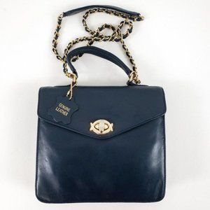 Vintage Leather Crossbody Bag Gold Chain Blue